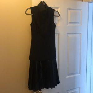 Sportmax Black Drop Waist Pleated Skirt Dress
